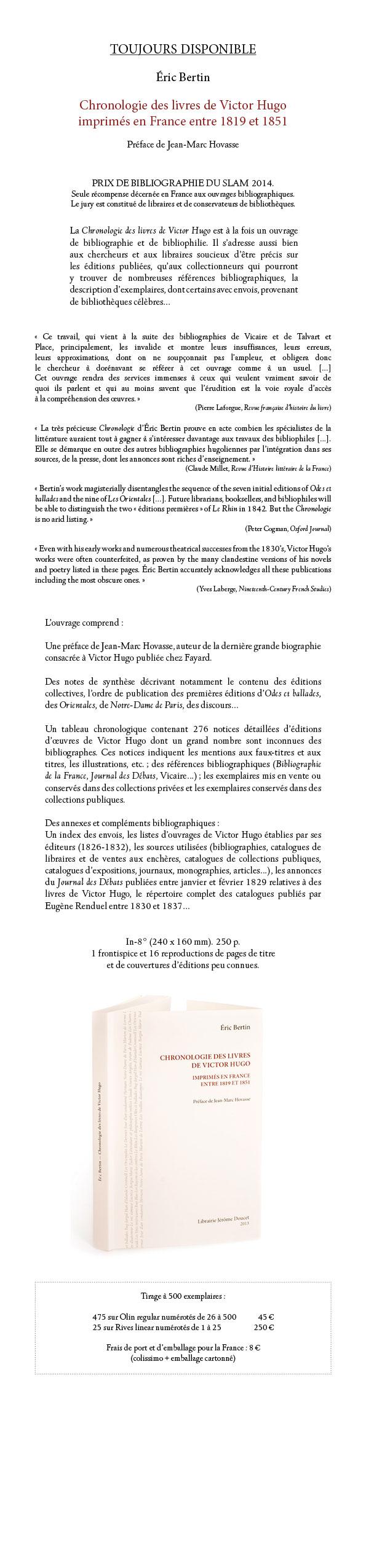 Bertin. Chronologie des livres de Victor Hugo